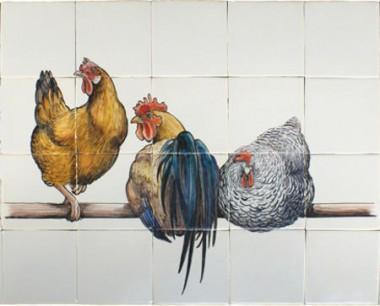 Ryan's witjes, drie kippen op stok 65x52cm. €  735,- (handbeschilderd)